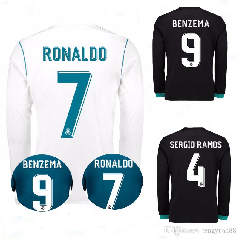 3c2d5c2f8 17-18 Real Madrid Home Long Sleeve Soccer Jersey RONALDO BENZEMA ...
