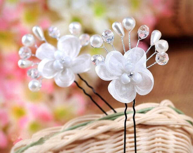 Beautiful White Bridal Headpieces Pearl Hairpins Flower Crystal Rhinestone Hair Pins Clips Pearls Bridesmaid Women Hair Jewelry Clip&Pin