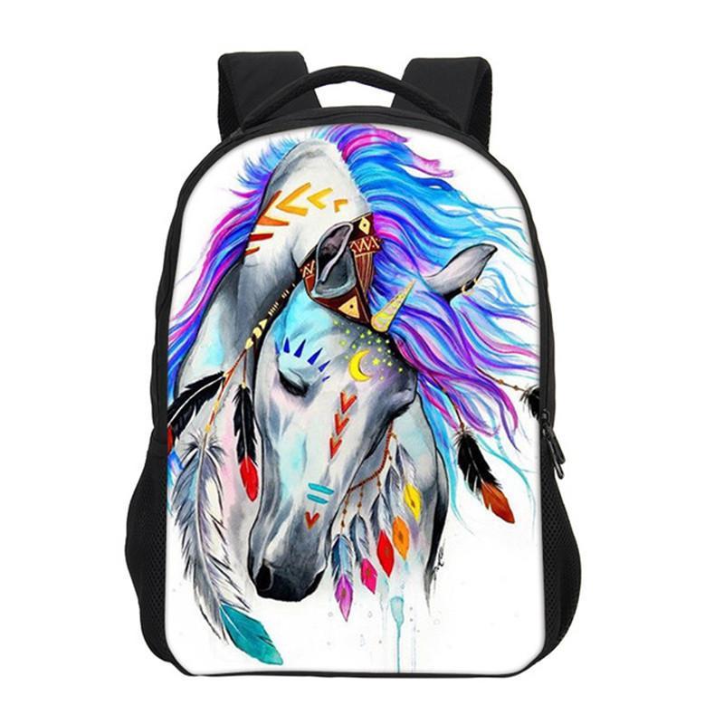 302fd39fdf53 Cool Horse 3D Printing Backpack For Teenager Boys Girls School Bags Casual  Men Shoulder Backpacks Bag Bookbag Satchel Students