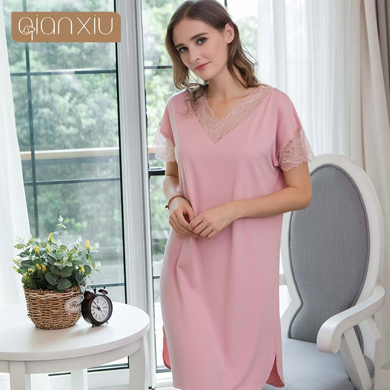 0f2c106673 2019 Women Short Sleeve Nightdress V Neck Nightwear Sexy Lace Bamboo Fiber  Sleepwear Ladies Soft Nightgown 1818 From Tayler