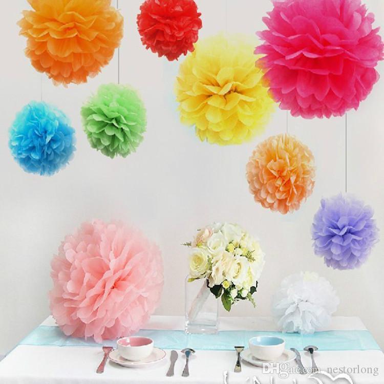 Tissue Paper Flower Pom Pom Rose Ball 10-35cm Hanging Paper Garland Baby Shower Wedding Party Decoration Craft DIY Supplies