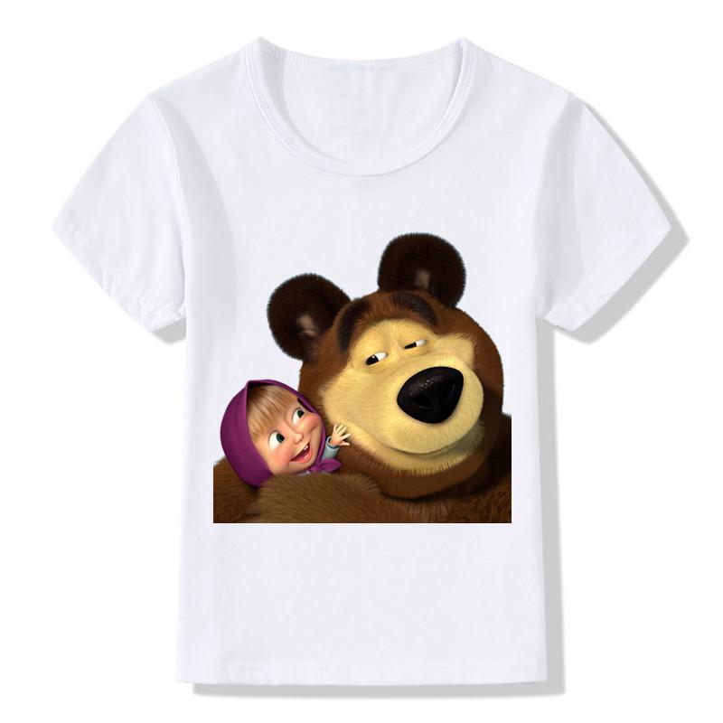 Compre 2017 Niños 3d Masha Y El Oso Imprimen Las Camisetas Niños ...
