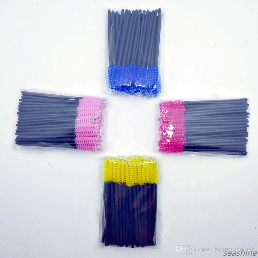 50 unids Desechable Amarillo Azul Púrpura Rosado Mango de Color Pincel de Pestañas Mezcla los Colores Pinceles de Maquillaje Herramienta Pestañas Máscara de Pestañas Logotipo Privado