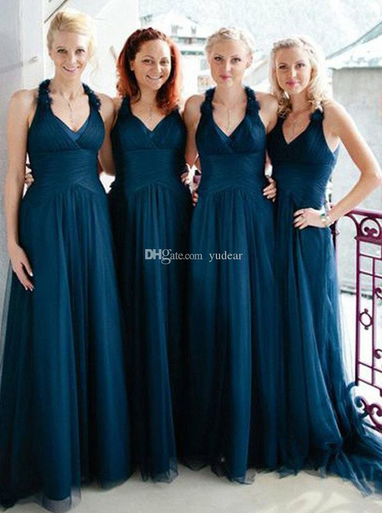 2019 Fashion A-line V-neck Sweep Train Dark Blue Ruched Tulle Bridesmaid Dresses Draped Evening Dresses Cheap Long Beach Wedding Guest Dress