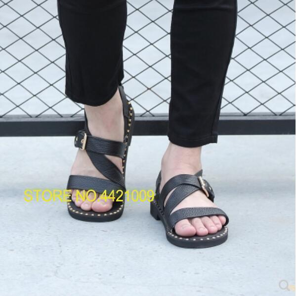 Shoes Sandalias Espárragos 2018 De Correa Cuero Playa Moda Gladiador Verano Genuino Para Pisos Cruzada Cool Hombre htQrdsC