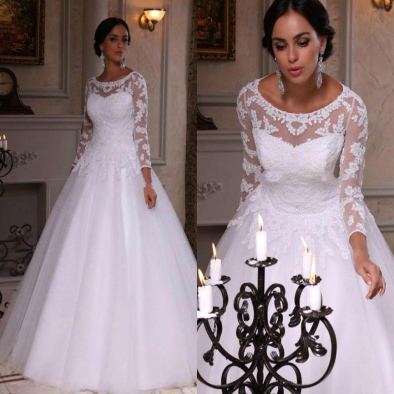Discount 2018 New Arrival A Line Wedding Dresses Dubai Long Sleeves ...