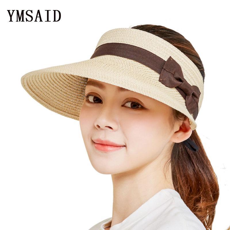 32b3b1115451e Ymsaid 2018 New Straw Visor Female Summer Sun Empty Top Hat Riding Outdoor  Sports Cap UV Sun Hat Woman Beach Fishing Cap Mens Hat Sunhat From Juemin