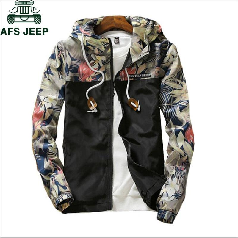 Floral Bomber Jacket Men Casual Slim Flowers Pilot Windbreaker Jacket Coat Men's Hooded Jackets Plus Size 4XL jaqueta masculina