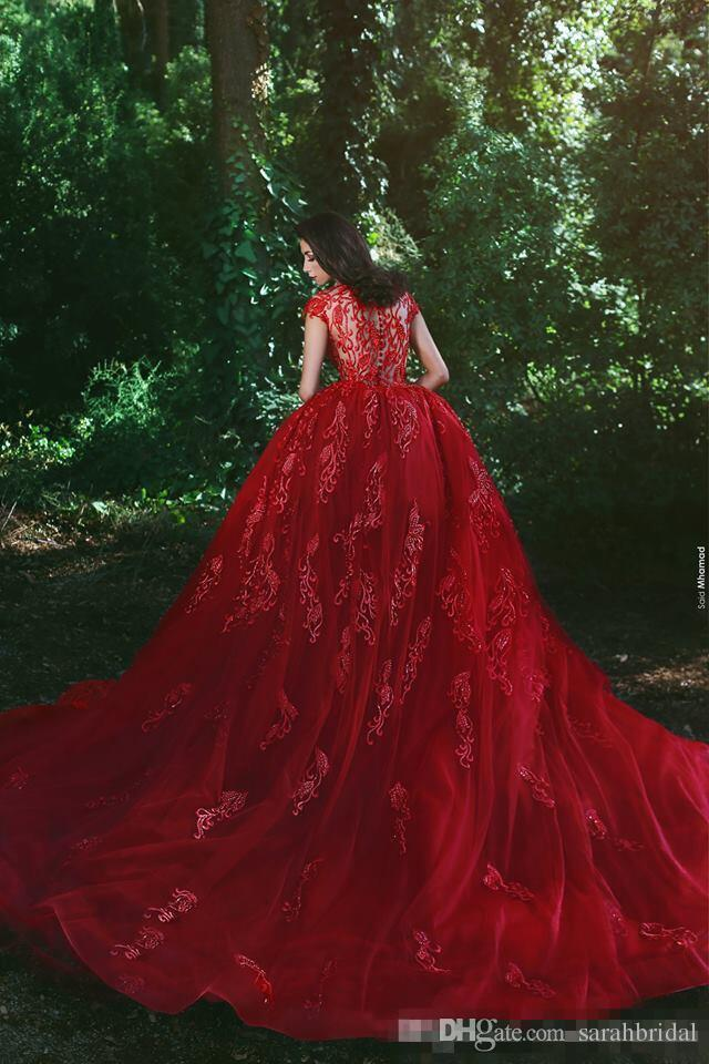 2019 Red Fairy Vestidos V pescoço curto mangas overskirts Train Applique Sheer Ver Através Partido Mermaid Prom Vestidos
