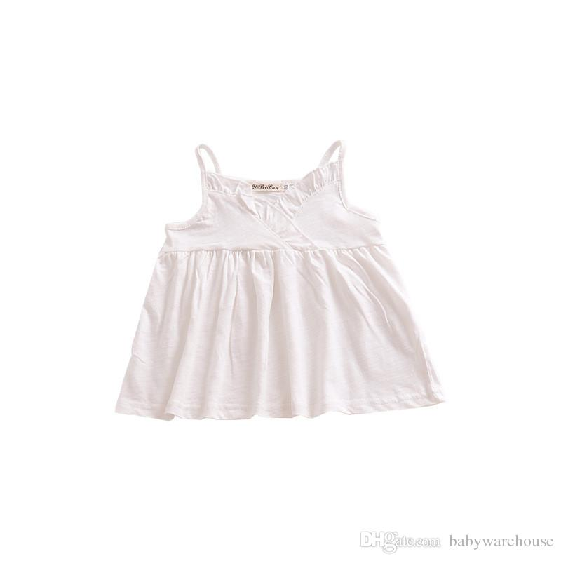 2018 Novas Meninas Roupas Bebê Deslizamento Vestido Adorável Verão Ruffle Bebê Meninas Vestidos de Algodão Ocasional Meninas Roupas Da Criança Da Menina Tops Roupa Dos Miúdos