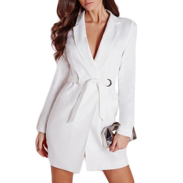 Compre Las Mujeres Elegantes OL Largo Blazer Mujer Blanco Negro De Algodón  Sashes Delgado Traje De Chaqueta De Moda Casual De Mujer Blazer Abrigos  Talever A ... 86306741d396