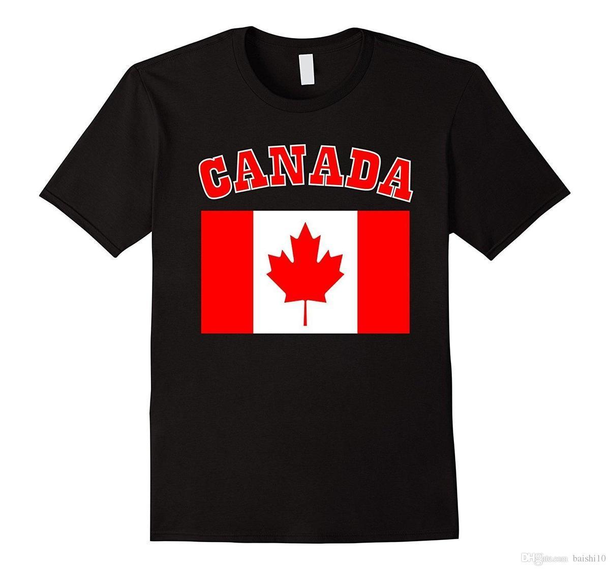 brand new bfa44 1e2b5 Patriottico I Love CANADA Bandiera Canadese Maglietta Maglietta stampata  Maglietta in cotone da uomo Nuovo stile Estate Abbigliamento famoso Top Tee