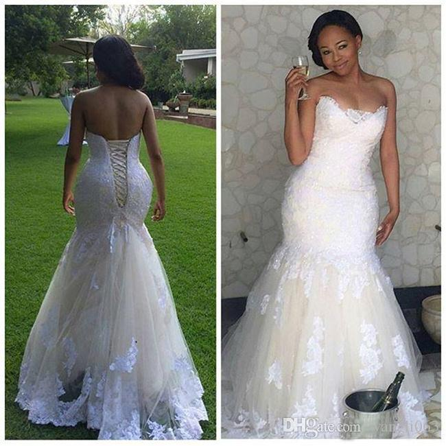 efcb114847fa0 Beaded Lace Plus Size Mermaid African Wedding Dresses 2018 Sweetheart  Draped Tulle Wedding Gown Country Style Corset Bridal Gowns Silk Mermaid  Wedding Dress ...