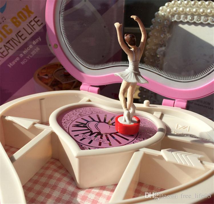 Spieldose Musikbox Tanzen Herz Form Mädchen Kind Geburtstag Geschenk Rosa Weiß Spieldosen