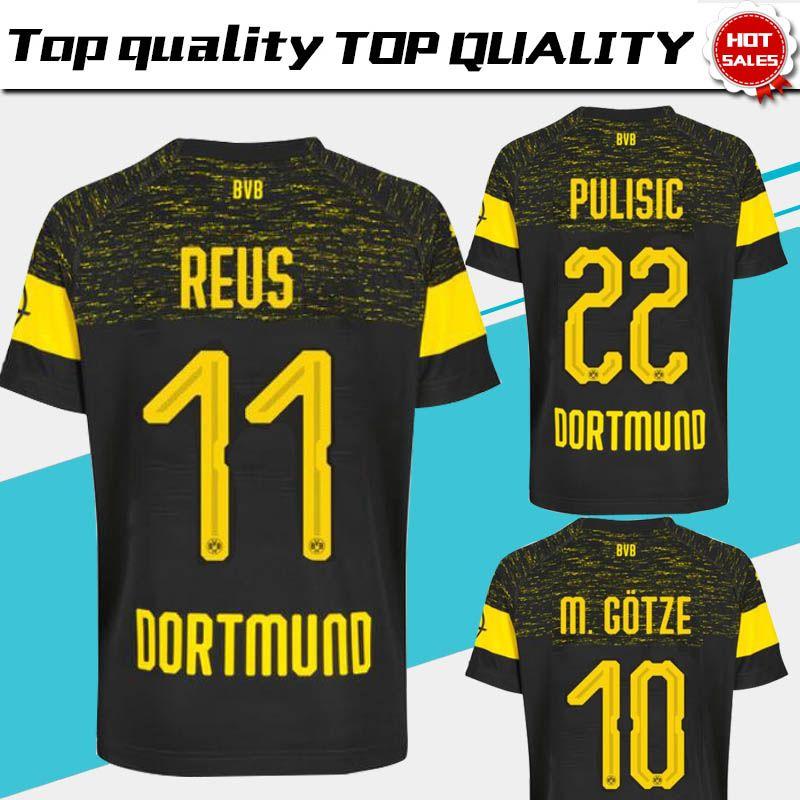 2019 Dortmund afastado camisa de futebol 18 19   11 REUS afastado camisa de  futebol preto personalizado   22 PULÍSTICO   10 M.GOTZE uniforme de futebol  em ... 9728ffddd3e6a