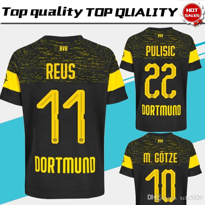 bbdc0ef25 2019 Dortmund camisa de futebol fora 18 19   11 REUS Away camisa de futebol  preto personalizado   22 PULÍSTICA   10 M.GOTZE uniforme de futebol em  vendas