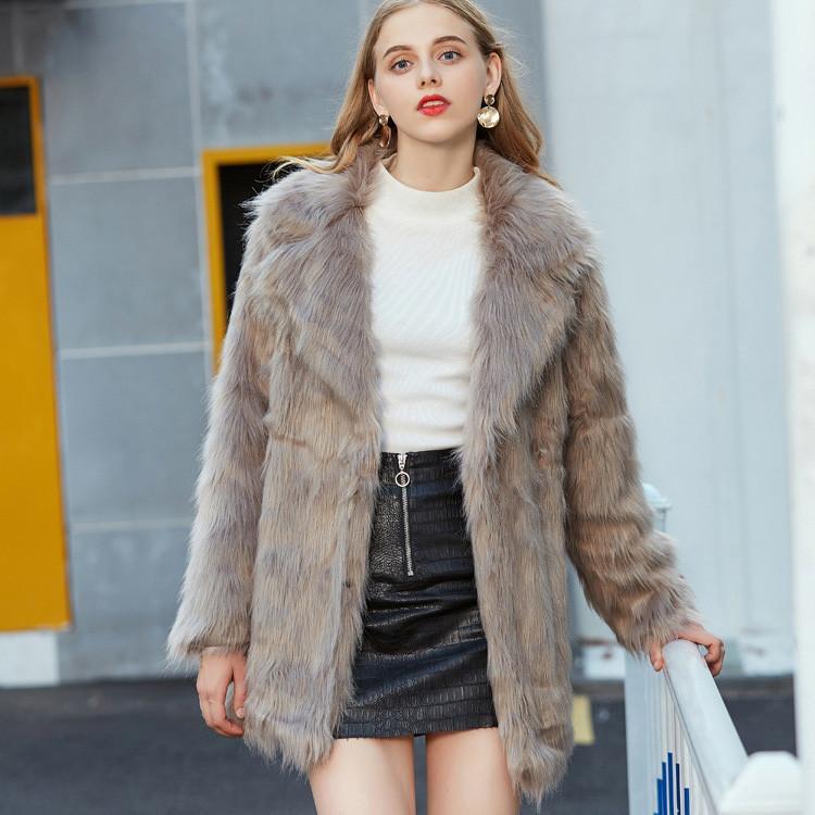 2017 neue Mode Frauen Mantel Luxus Warme Damen Faux Fuchspelz Langhülse Jacke Strickjacke Mantel Tops Outwear Parka