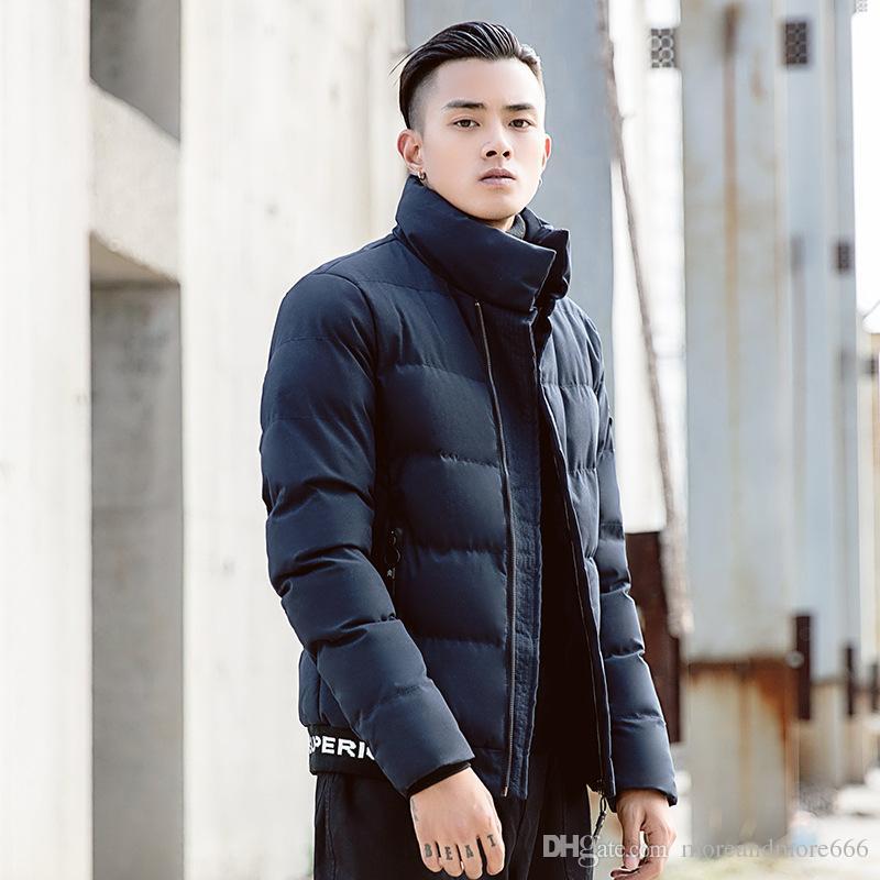 Herren Baumwolle Mantel Stehkragen Jungen Mäntel 2018 Winter Warm Fashion Brief Gedruckt Verdickung Junge Männer tragen Freizeitkleidung