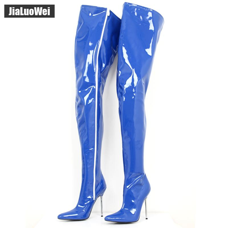 92227f804d3 Sexy Fetish Unisex Long Boots Extreme High Heel 12cm Over The Knee Crotch  Boots Shiny Matte Patent PU Leather Thigh High Boots Office Shoes From  Mkfobia