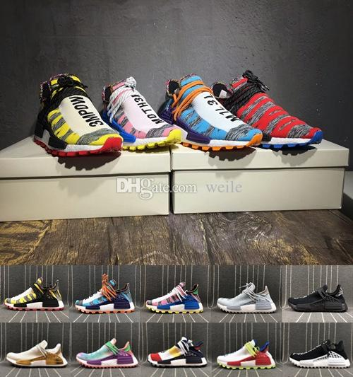 74e2a222d Cheap 2018 NMD Human Race Afro Hu Trial Solar Pack Men Women Running Shoes  Pharrell Williams Blank Nmds Human Races Mens Trainers Sneakers 36-45