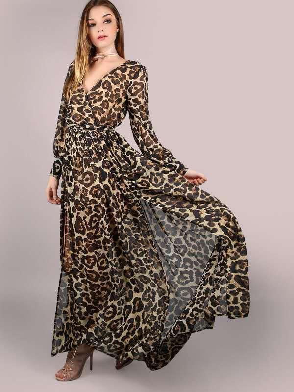 aa419d391deb4 Satın Al Seksi Kahverengi Leopar Desen Derin V Yaka Şifon Uzun Kollu Elbise  Için 2018 Moda Yeni Tasarım Doğum Günü Hediyesi Elbise, $32.17 |  DHgate.Com'da