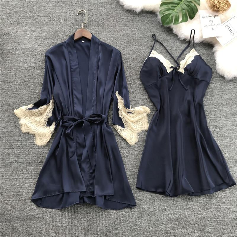 Loose Womens Silk Dessous Set mit Robe Lace Sleep Hochzeitsrobe und Mini Night Dress Dreiviertel Nachthemd