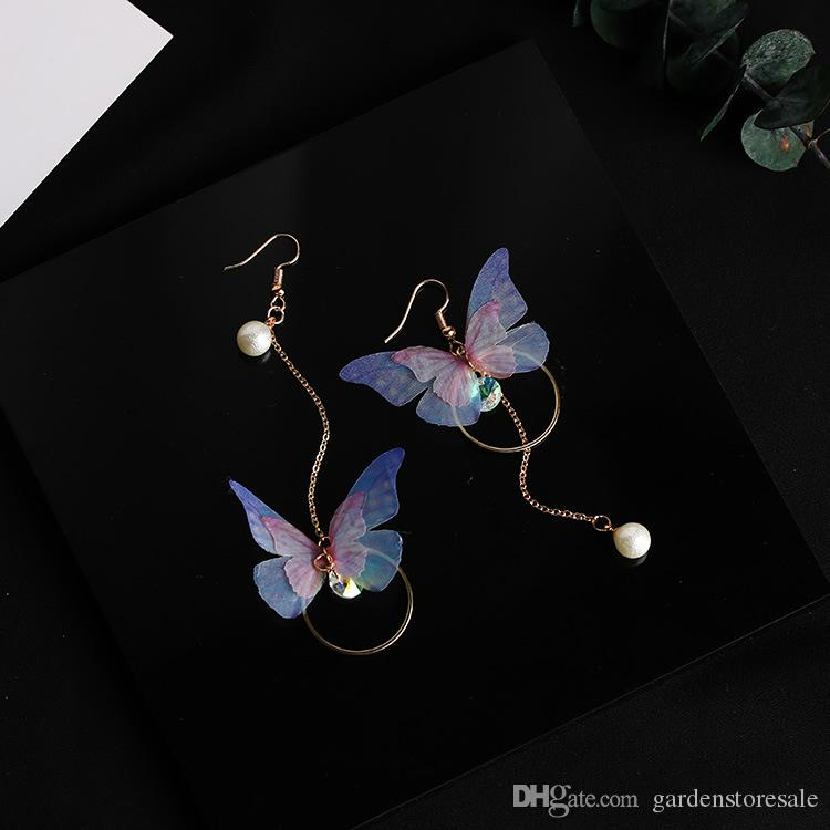 2018 Trendy Temperament Garn Schmetterling baumeln Ohrringe lange Ohr Linie simulierte Perle Strass Pendientes Mode Ohrringe