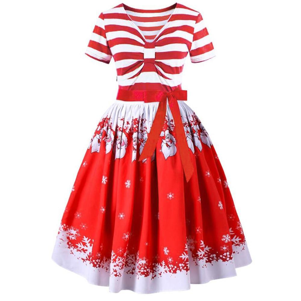 d3651f11f24bf Acquista Vestito Da Donna Con Stampa A Strisce Abito Da Sera Di Babbo Natale  Vestito Da Cerimonia Di Danza Casual Abiti Da Donna Vest Vestiti Da Donna  ...