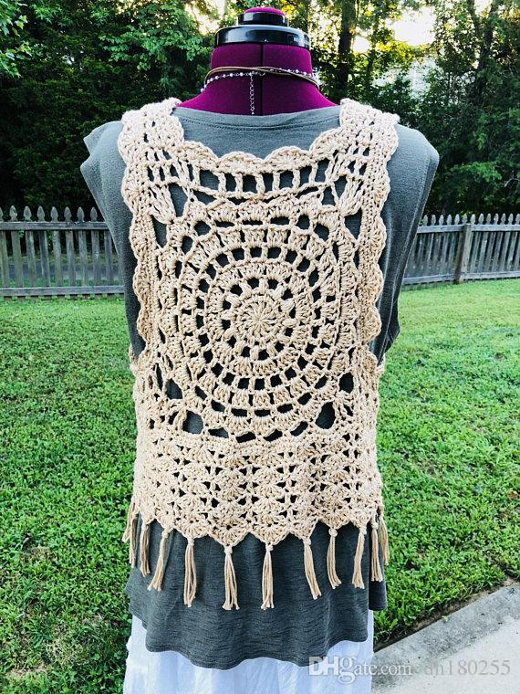 2019 Fashion Womens Tops Tees Hand Crochet Vest Openwork Festival