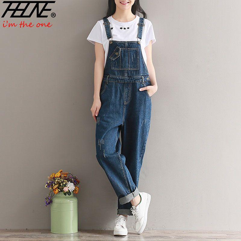 957afa945b17 2019 THHONE Brand Jeans Women Jumpsuit Denim Romper Overalls Casual Long  Trousers Vaqueros Basic Denim Pants Wide Leg Rompers Female Y1891808 From  Shenyan01 ...
