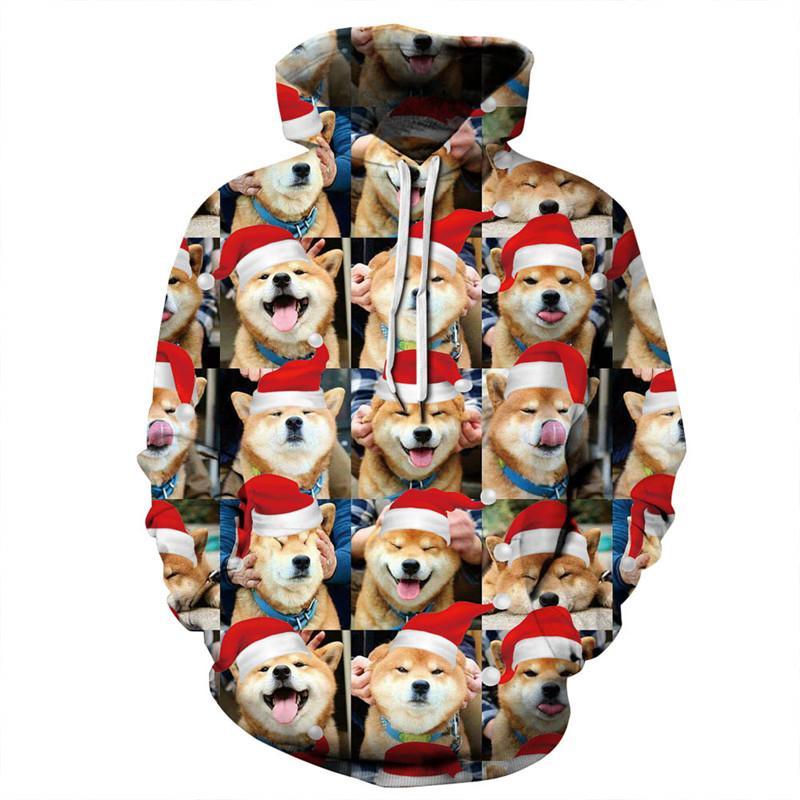 387238b88 Compre Engraçado 3D Cão Impressão Moletom Com Capuz Camisola Das Mulheres  Dos Homens 2018 Moda 3D Natal Hoodies Homens Harajuku Streetwear Com Capuz  ...