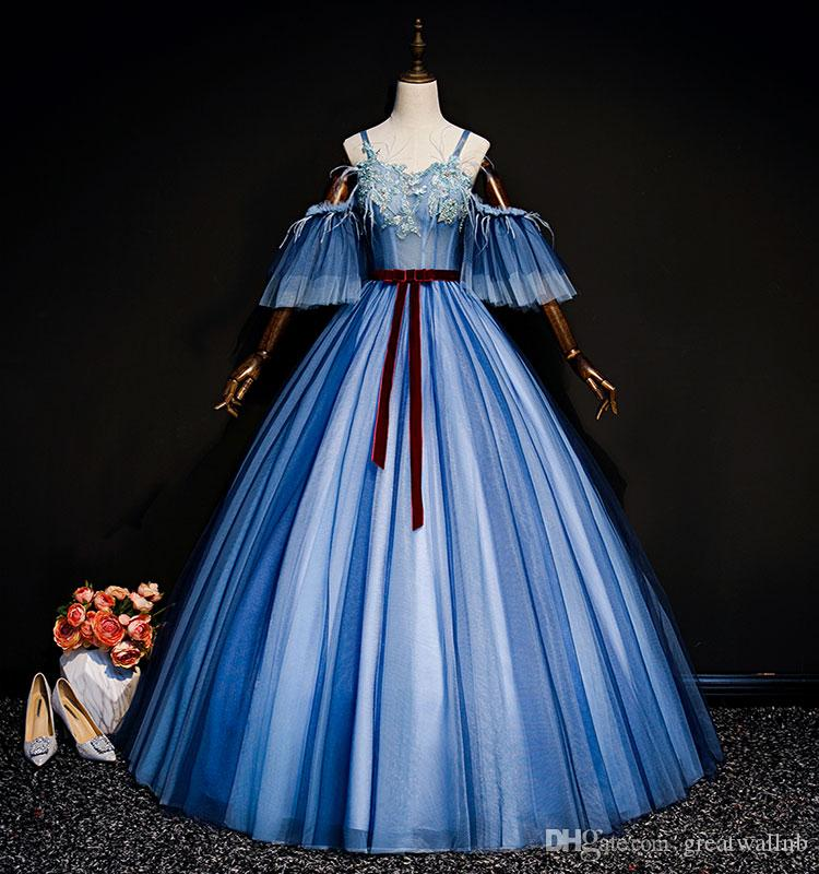 936bb07a16026 Blue Versailles Embroidery Feather Rococo Princess Long Gown Medieval Dress  Princess Medieval Renaissance Gown Queen Cosplay Victoria Dress Female  Group ...