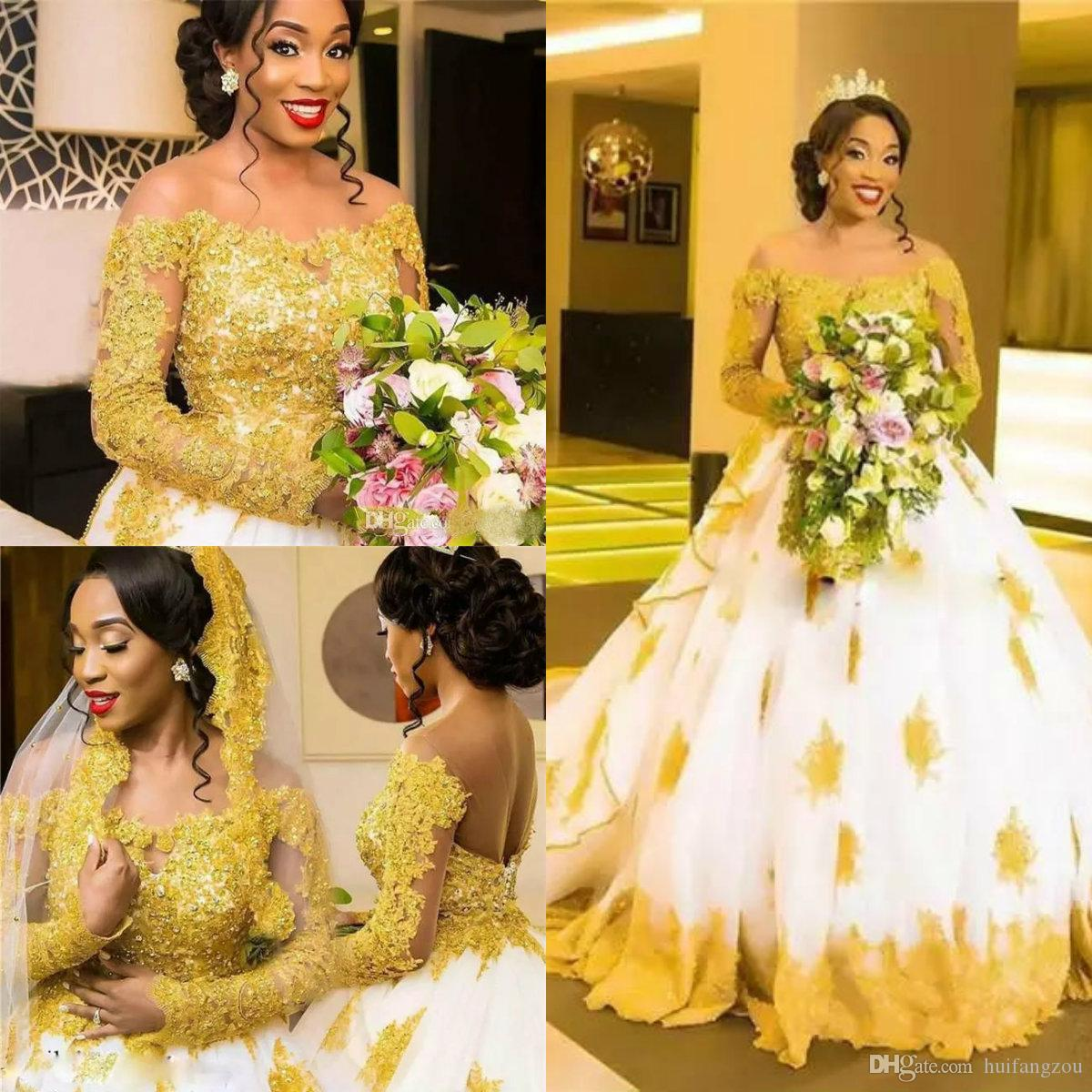 Discount 2019 Dubai African Plus Size Wedding Dress Off Shoulder