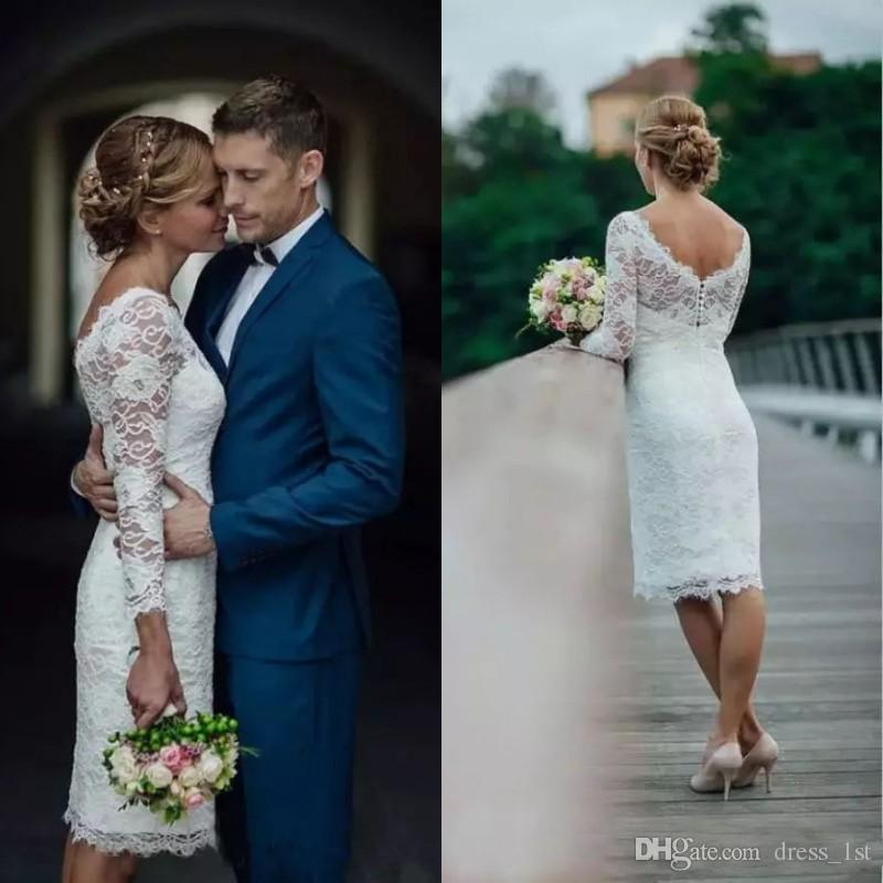 1428190927a Modern Long Sleeve 2018 Wedding Dress Scoop Neck Sheath Knee Length Country  Short Bridal Gowns Reception Dress Expensive Wedding Dresses Fitted Wedding  ...