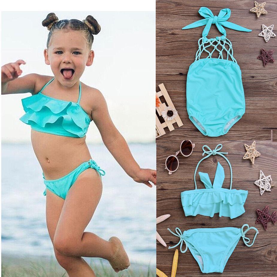 d8f56e20fe 2019 Children Swimwear Falbala Girls Swimwear Baby Kids Biquini Infantil  Swimsuit Bikini Girl 2018 New Summer Bathing Suit From Kangsanzuo888, ...
