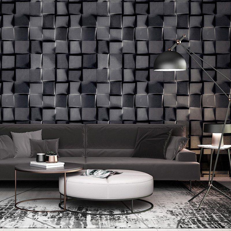 3D stéréoscopique abstrait noir blanc papier peint à carreaux moderne  géométrique gris papier peint salon chambre bureau papier peint rouleau