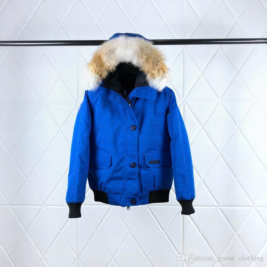 new product 1363a 34019 Piumino freddo blu con cappuccio Piumino estivo con pelliccia di lupo  Signore Brevi cerniere lampo invernale chiuso Giacca da vento invernale