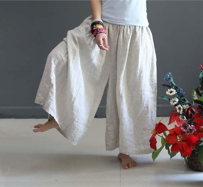 fd81ac3634b 2019 Summer Linen Trousers For Women Elastic High Waist Fashion Female Wide  Leg Pants Loose Plus Size Culottes Causal Capris Pants From Longmian