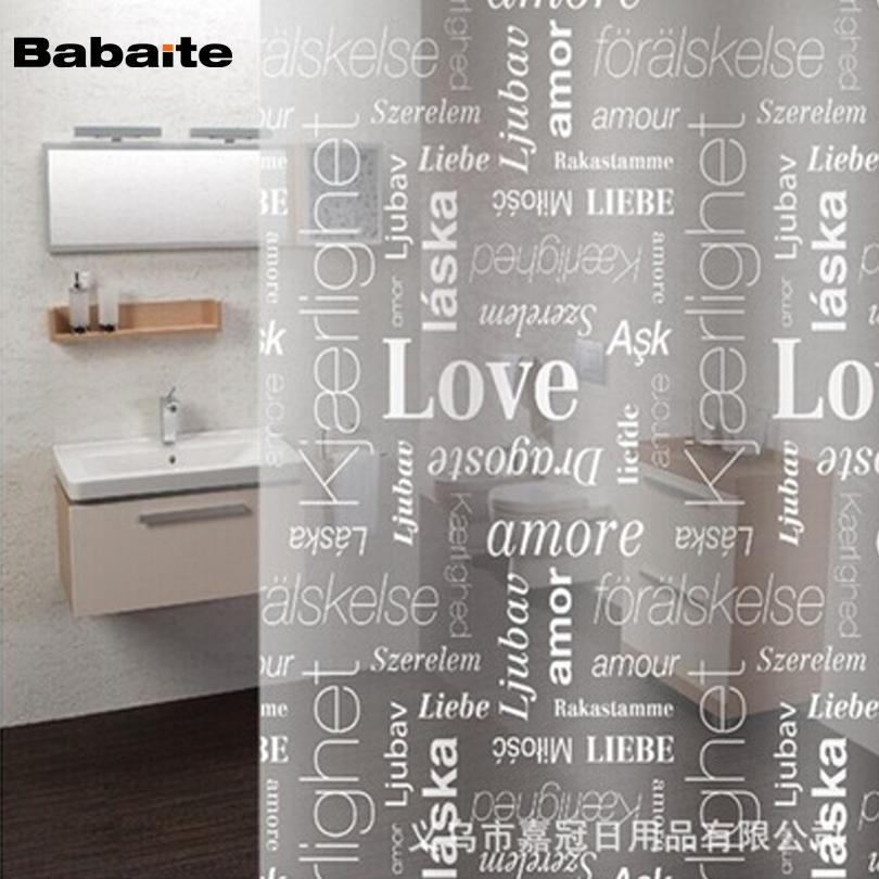 Compre Babaite Love Letter Inglés PEVA Cortinas De Baño De La ...