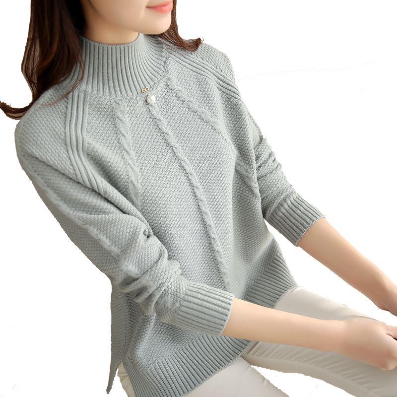 Compre Otoño Invierno Mujer Suéter Nuevo Alto Elástico Jersey De Cuello  Alto Para Mujer Color Sólido Suéter De Punto Para Mujer Delgado Tops Blusas  ... daaa17cccfb1