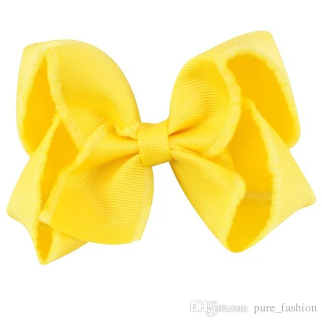 4'' Solid Grosgrain Ribbon Handmade Hair Bow Girls Hairgrips Boutique Hair Clip Hair Accessories For Kids