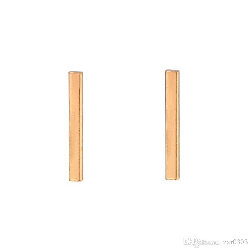 2018 Moda oro argento punk semplice T Bar orecchini le donne orecchini orecchio gioielli gioielleria geometria donne orecchino