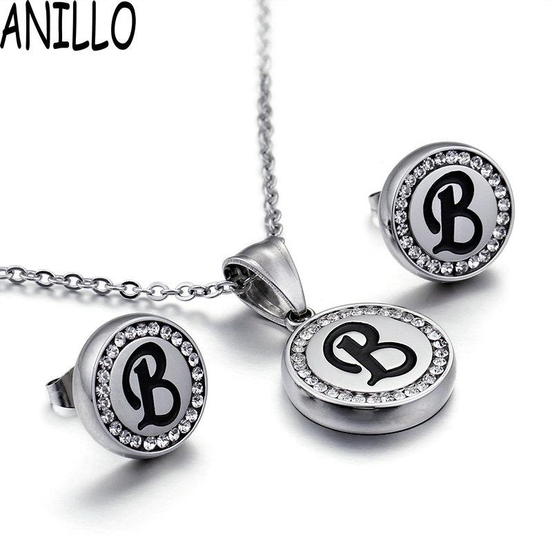 2019 anillo women letter b necklaceearrings fashion stainless steel eternal love cz pendant elegant chain jewelry set from cupwater 3094 dhgatecom