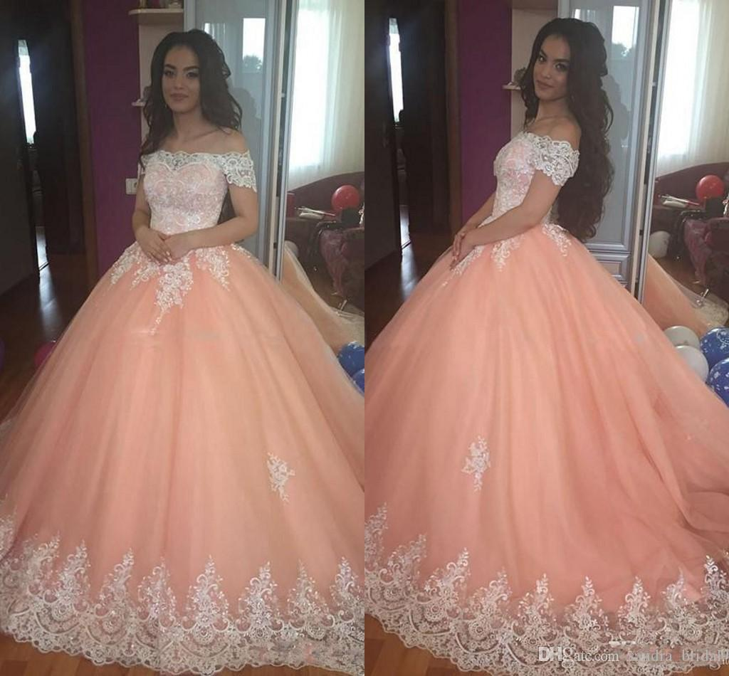 Elegant Peach Ball Gown Prom Dresses For 15 Years Girl Off Shoulder ...