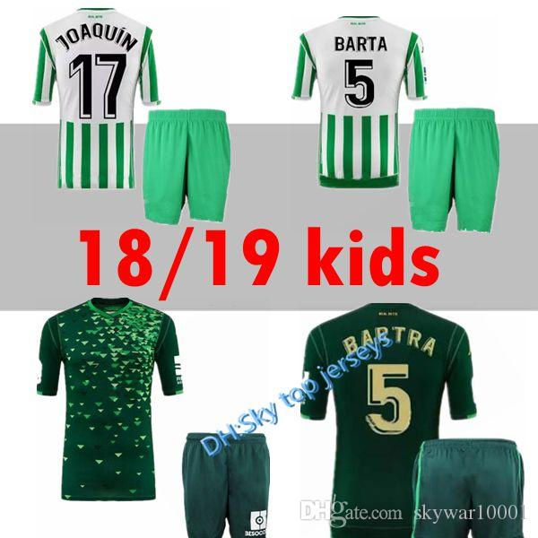 85bf0251017 Kids Kit 2018 2019 Royal REAL Betis Soccer Jersey HOME 18 19 JOAQUIN ...