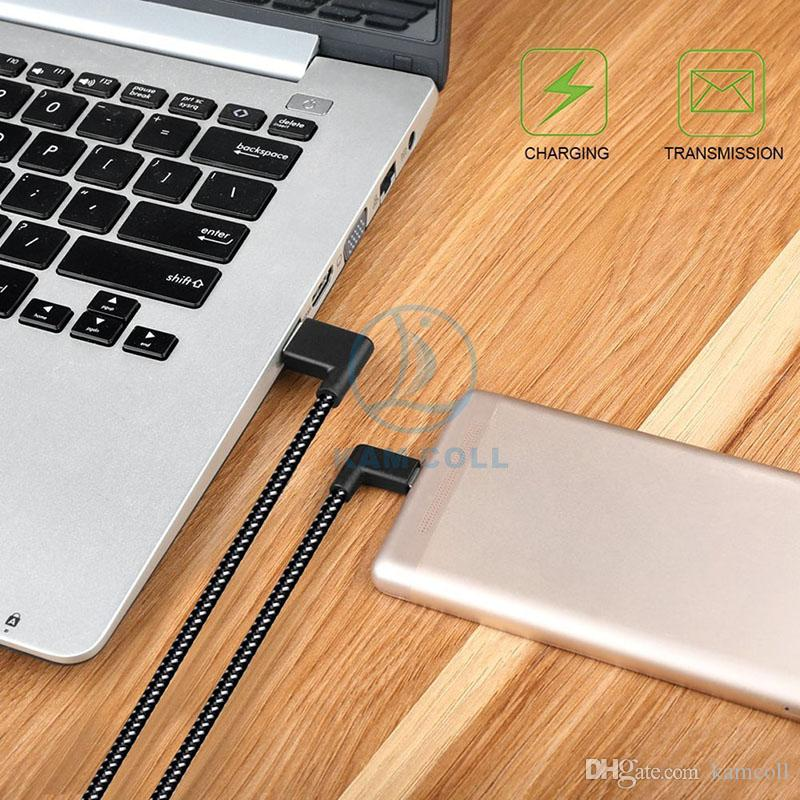 Right Angle TYPE C Micro USB Braided Cable 2.4A Fast Charging 1M 2M 3M 90 Degree Bend Connector For Samsung Huawei Xiaomi