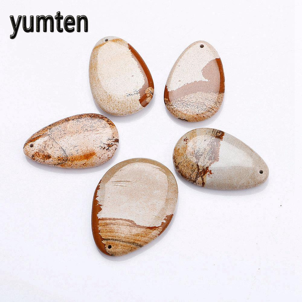 Yumten Picture Stone Collana pendente gioielli naturali Dropshipping Dog Tag Colar Chokers Collane Choker Regalo all'ingrosso 5 PCS