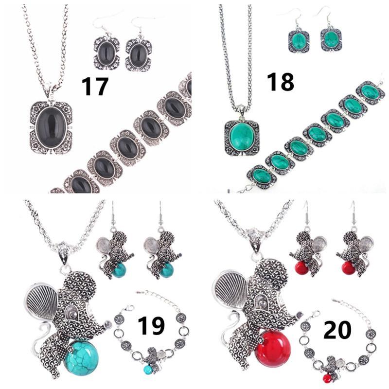 Bijoux De Mode Ensemble Turquoise Animal Hibou Dauphin Fox Souris Collier Boucle D'oreille Bracelet Ensemble Pour Les Femmes Cadeau Bohême Bijoux