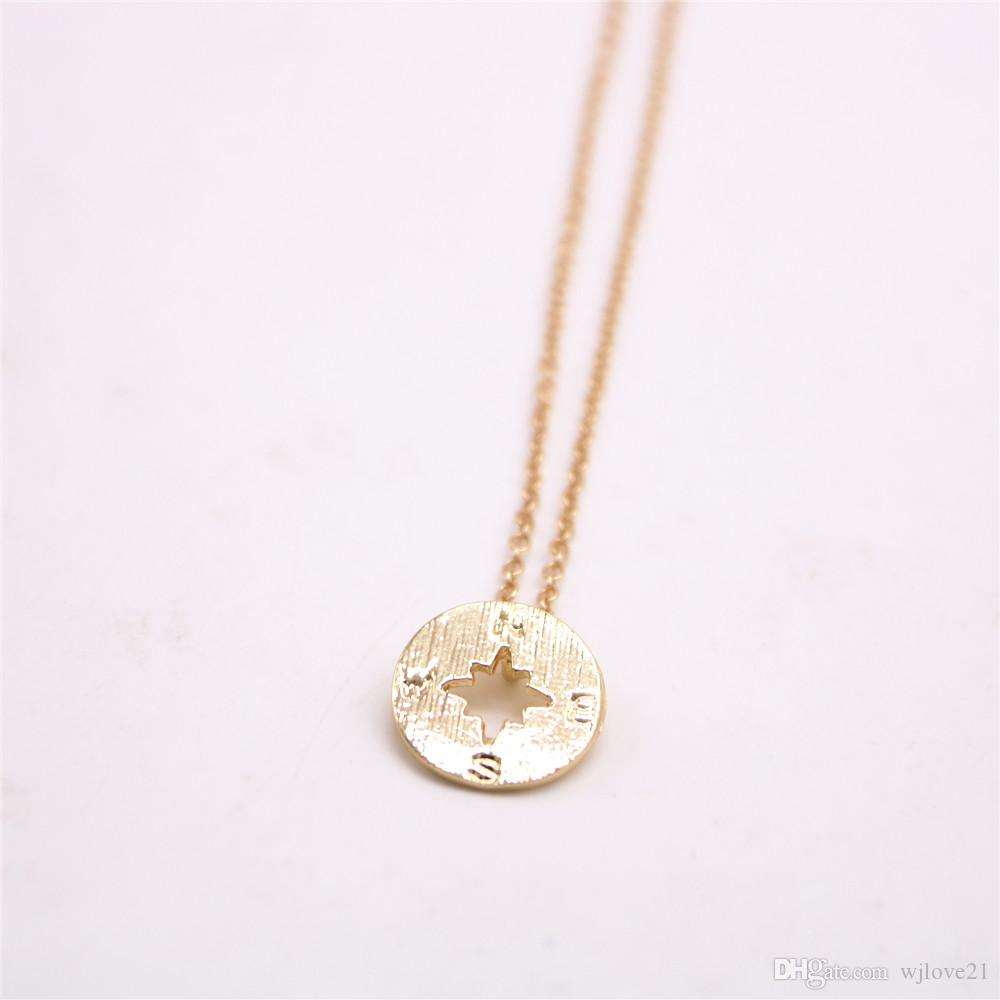 Fashion 18k Gold silver simple Pendant Geometric Plane Shapes necklace compass necklaces-best gift for women