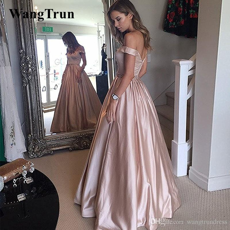6a6045c82363 2019 Sexy Off Shoulder Satin Prom Dresses With Beaded Sash A Line Red  Carpet Long Formal Pageant Ball Gowns Party Evening Gowns Backless Prom  Dress Beaded ...